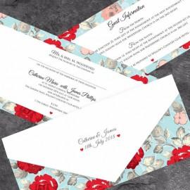 Retro Rose Wedding Invitation
