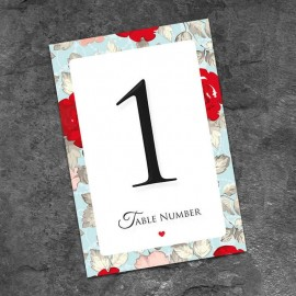 Retro Rose Table Numbers - Pack of 10