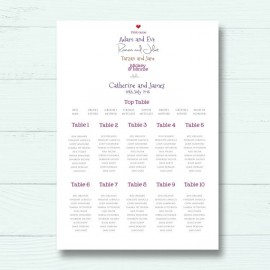 Romeo & Juliet Wedding Table Plan