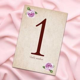 Rosebud Table Numbers - Pack of 10