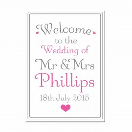 Signature Pink Large Wedding Sign