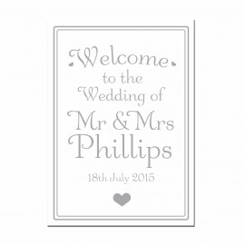 Signature Silver Large Wedding Sign