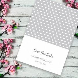 Silver Polka Dot Hearts Save the Date Card