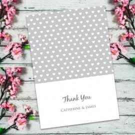 Silver Polka Dot Hearts Thank You Card