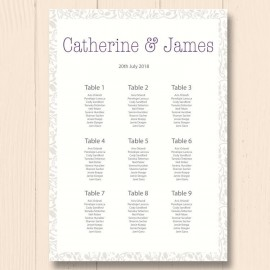 Simplicity Wedding Table Plan