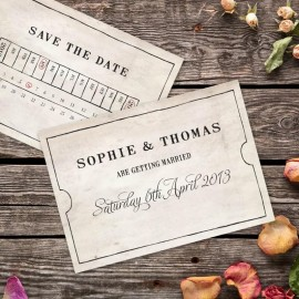 Vintage Bus Ticket Save the Date Card