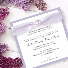 Violet Diamante Buckle Wedding Invitation