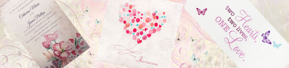 view our collection of personalised pink wedding invitations