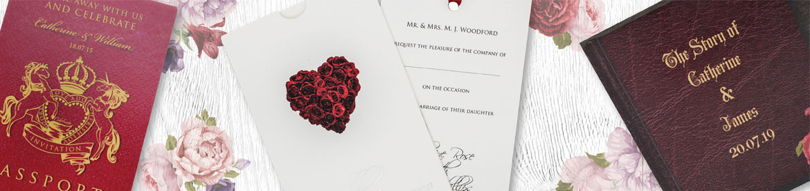 view our collection of red wedding invitations