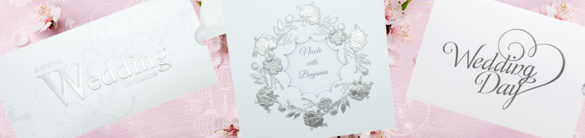 view our collection of personalised silver wedding invitations
